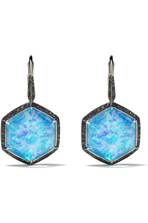 STEPHEN WEBSTER 18kt white gold Deco Haze diamond, hematite and opal drop earrings - QUARTZ HEMATITE