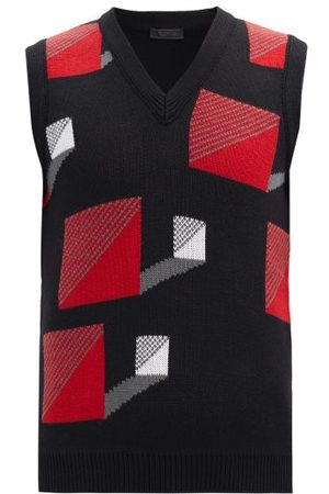 Prada Square-jacquard Wool Sleeveless Sweater - Mens