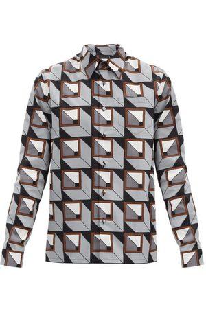 Prada Cubic-print Cotton-poplin Shirt - Mens