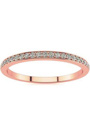 SuperJeweler 1/10 Carat Micropave Diamond Wedding Band in 14k Rose , I-J, Size 3