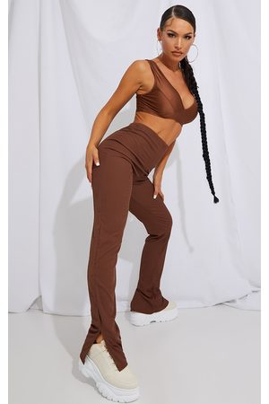 PRETTYLITTLETHING RECYCLED Chocolate Split Hem Trousers