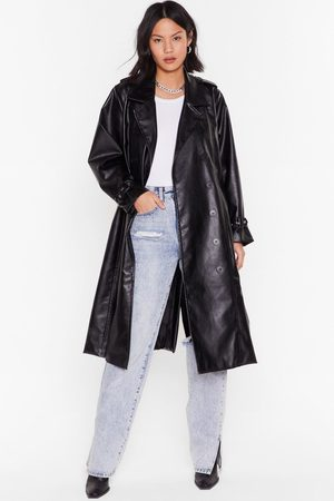 NASTY GAL Womens You Faux Leather Know Belted Trench Coat - - 8