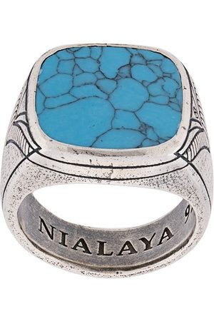 Nialaya Jewelry Men Rings - Engraved onyx ring