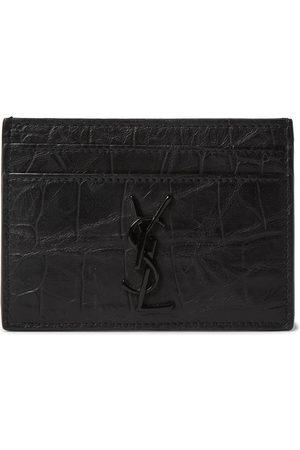 adidas Men Purses & Wallets - Logo-Appliquéd Croc-Effect Leather Wallet