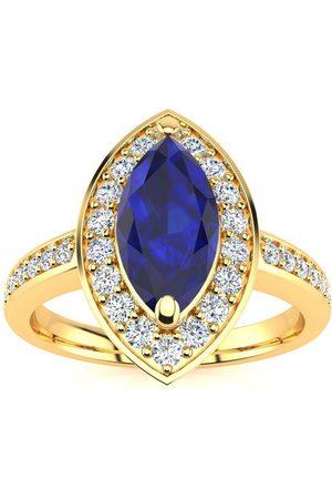 SuperJeweler 1 Carat Marquise Blue Sapphire & 28 Diamond Ring in 14K (3 g), I-J, Size 4