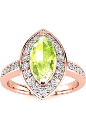 SuperJeweler 1 Carat Marquise Peridot & 28 Diamond Ring in 14K Rose (3 g), I-J, Size 4