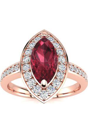 SuperJeweler 1 Carat Marquise Garnet & 28 Diamond Ring in 14K Rose (3 g), I-J, Size 4