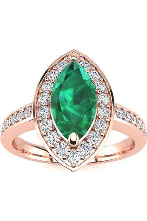 SuperJeweler 1 Carat Marquise Emerald Cut & 28 Diamond Ring in 14K Rose (3 g), I-J, Size 4