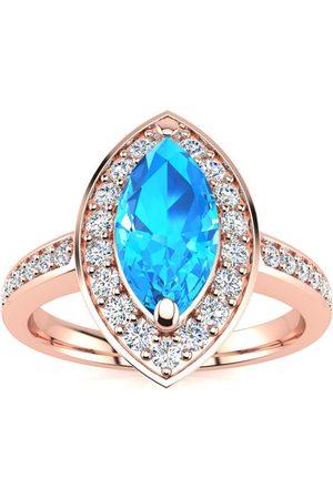 SuperJeweler 1 Carat Marquise Blue Topaz & 28 Diamond Ring in 14K Rose (3 g), I-J, Size 4