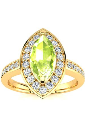 SuperJeweler 1 Carat Marquise Peridot & 28 Diamond Ring in 14K (3 g), I-J, Size 4