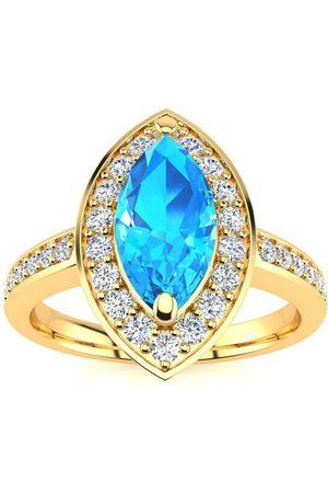 SuperJeweler 1 Carat Marquise Blue Topaz & 28 Diamond Ring in 14K (3 g), I-J, Size 4