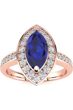 SuperJeweler 1 Carat Marquise Blue Sapphire & 28 Diamond Ring in 14K Rose (3 g), I-J, Size 4