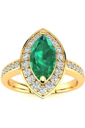 SuperJeweler 1 Carat Marquise Emerald Cut & 28 Diamond Ring in 14K (3 g), I-J, Size 4