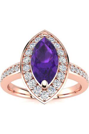 SuperJeweler 1 Carat Marquise Amethyst & 28 Diamond Ring in 14K Rose (3 g), I-J, Size 4