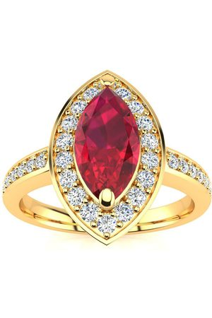 SuperJeweler 1 Carat Marquise Ruby & 28 Diamond Ring in 14K (3 g), I-J, Size 4