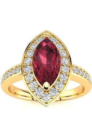 SuperJeweler 1 Carat Marquise Garnet & 28 Diamond Ring in 14K (3 g), I-J, Size 4