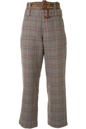 R13 Plaid patterned double belted trousers