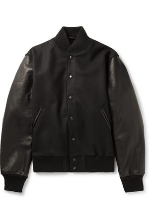 Golden Bear Men Leather Jackets - The Albany Wool-Blend and Leather Bomber Jacket