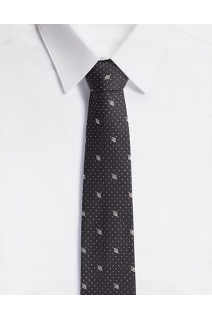 Dolce & Gabbana Ties and Pocket Squares - SILK BLADE TIE WITH POLKA-DOT DESIGN AND DG LOGO (6 CM)