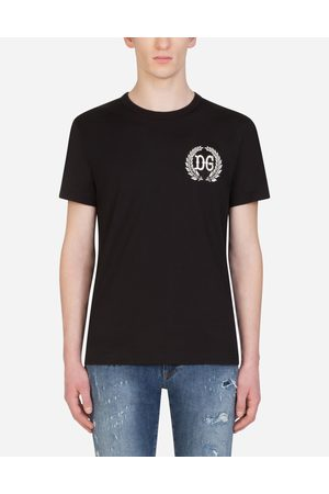 Dolce & Gabbana Men Short Sleeve - T-Shirts and Polos - COTTON T-SHIRT WITH DG PATCH
