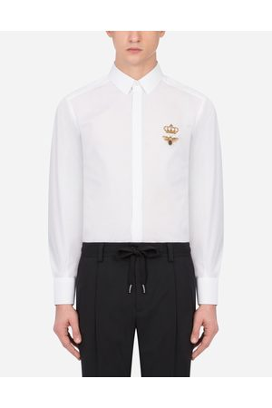 Dolce & Gabbana Shirts - COTTON GOLD-FIT SHIRT WITH PATCH