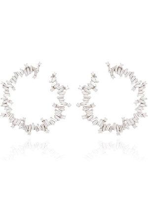 Suzanne Kalan Women Earrings - 18kt white gold diamond hoop earrings - METALLIC