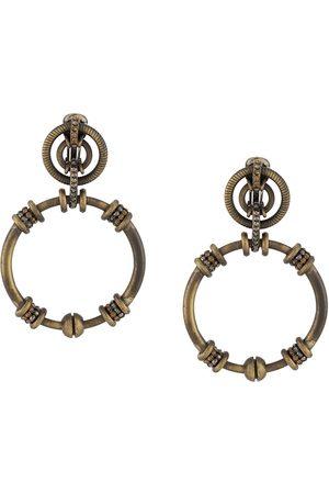 Gianfranco Ferré 1990s rhinestone-embellished dangling hoop earrings - Metallic