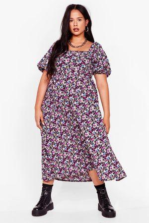 NASTY GAL Womens Smock It Off Plus Floral Midi Dress - - 16
