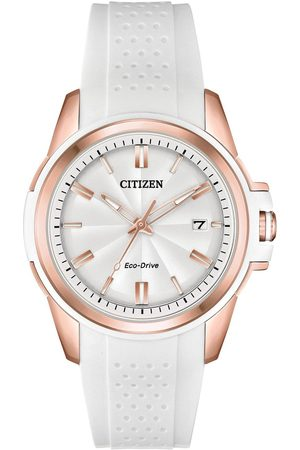 Citizen Eco-Drive White And Rose Gold Date Dial White Silicone Strap Ladies Watch