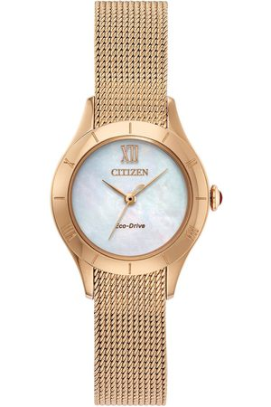 Citizen Eco-Drive Mother Of Pearl Dial Rose Gold Stainless Steel Mesh Strap Ladies Watch