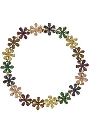 Sydney Evan 14kt yellow gold sapphire Rainbow Daisy Eternity bracelet - YLWGOLD