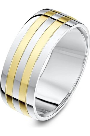 Love GOLD 9Ct White Gold And Yellow Gold 8Mm Polished Band