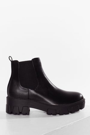 Nasty Gal Womens Cleated Faux Leather Chelsea Boots
