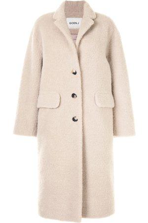 GOEN.J Single-breasted faux-shearling coat - Neutrals