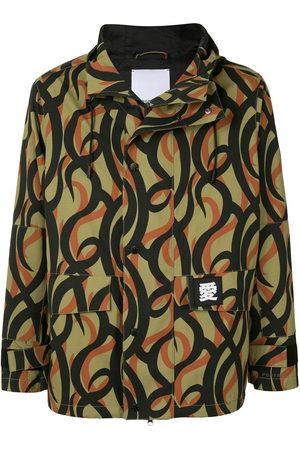 Ports V Abstract-print hooded jacket