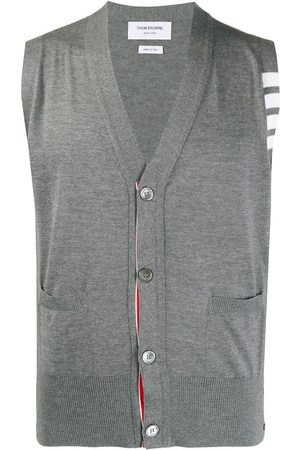 Thom Browne Men Body Warmers - Knitted 4-Bar V-neck vest - 035 MED