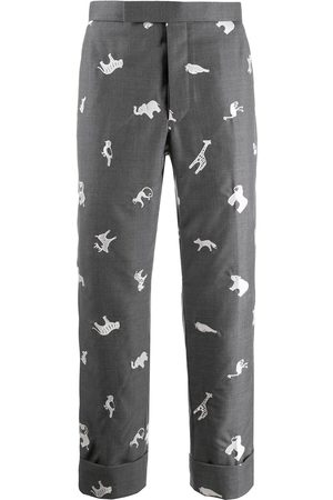 Thom Browne Animal-embroidered cropped trousers
