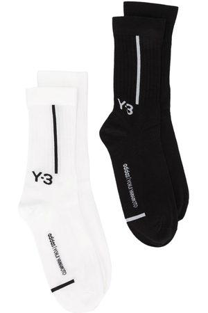 Y-3 Logo-intarsia two pack socks - /CWHITE