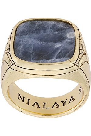 Nialaya Men Rings - Engraved onyx ring