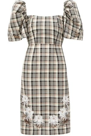 Edward Crutchley Checked Roll-neck Puff-sleeve Wool Dress - Womens - Multi