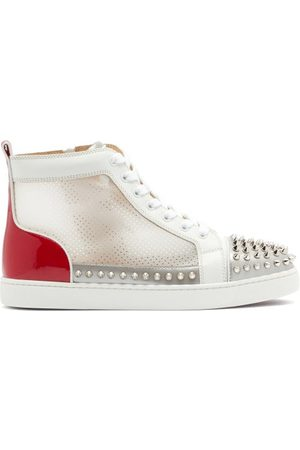 Christian Louboutin Donna Studded Leather And Mesh High-top Trainers - Womens - Multi