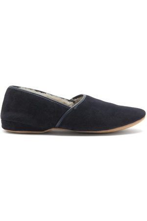 DEREK ROSE Crawford Shearling-lined Suede Slippers - Mens