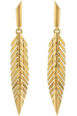 Cadar 18k yellow small feather drop earrings