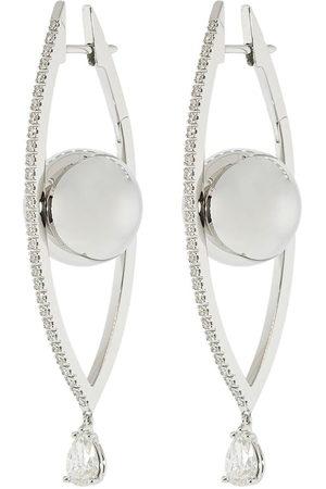 Cadar Women Earrings - 18kt white gold large Reflections diamond hoop earrings