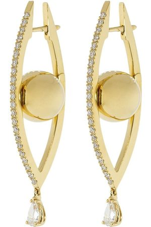 Cadar 18kt yellow Reflections medium diamond hoop earrings