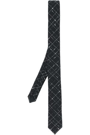 Saint Laurent Silver-tone check pattern tie