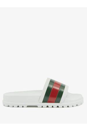 Gucci Web-striped Rubber Slides - Mens