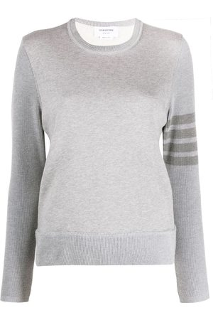 Thom Browne Crew neck sweatshirt in classic loopback with 4-bar