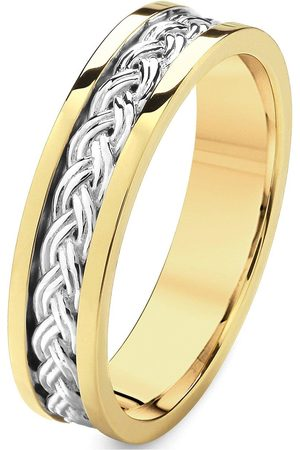Love GOLD 9Ct White Gold And Yellow Gold Pattern Wedding Band 5Mm