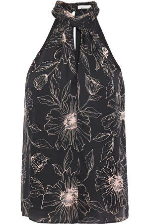 Joie Women Tank Tops - Woman Cutout Floral-print Satin-crepe Top Size L